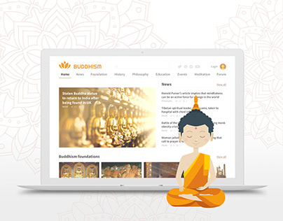Buddhism Informational Portal. Home page design. UI