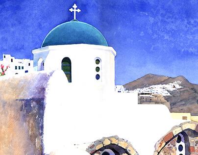 Watercolour Santorini Σαντορίνη