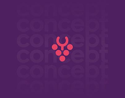 Vinho + taça logo concept