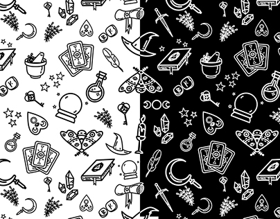 Modern Witch seamless pattern