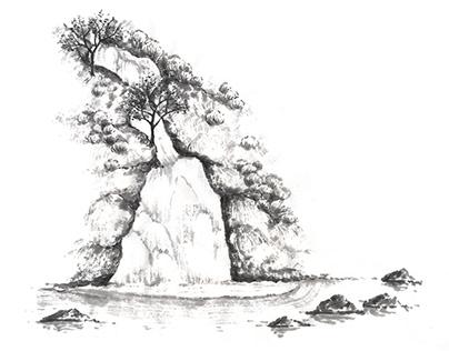 Sumi-e Illustrations for label and site design