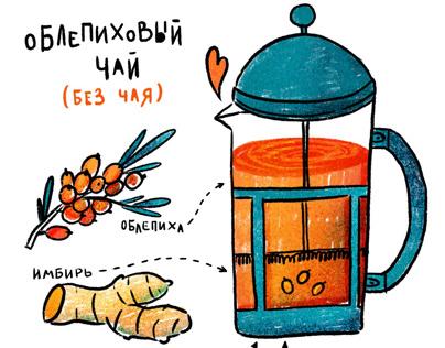 Buckthorn tea recipe illustration