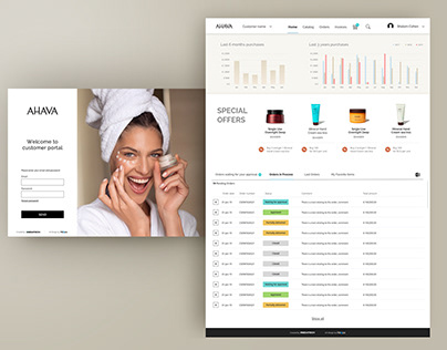 UX/UIdesign customer portal for AHAVA