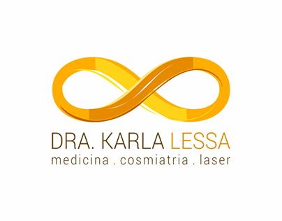 Dra. Karla Lessa [logo, cartão, receituário médico]