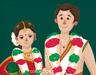Illustrated Tambrahm - Iyer style wedding invitation