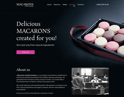 Macarons sweet boutique | Landing page