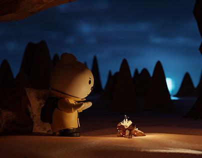 Scene illustration of little friends