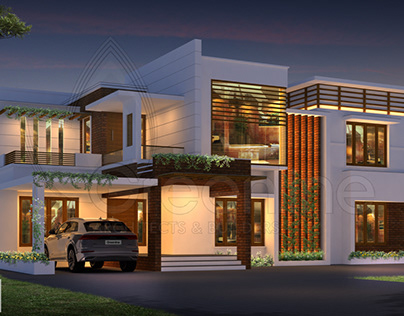 5 bedroom contemporary house night view rendering