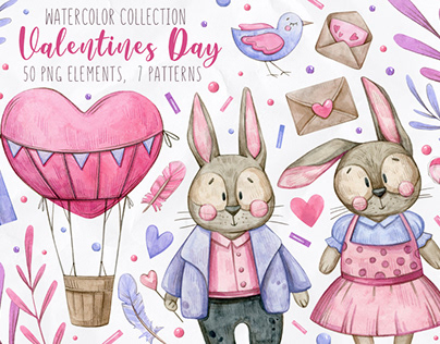 Watercolor illustration Valentines Day set.