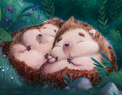 cute cuddling sleepy hedgehogs
