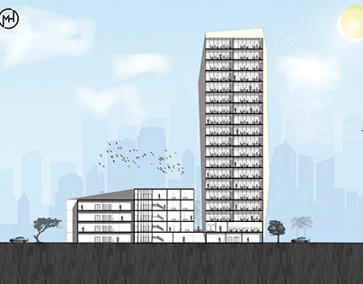 Conceptual Section - Administrative tower