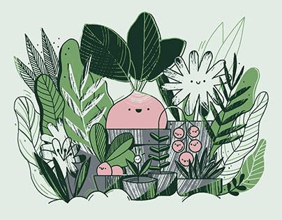 Set of illustration about urban gardening