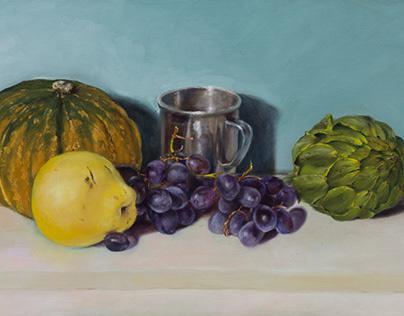 """Pumpkin, Pear, Grape and Artichoke"""