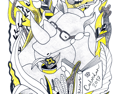 """Illustrated Calendar 2017 """"Some facts about Rhinos"""""""