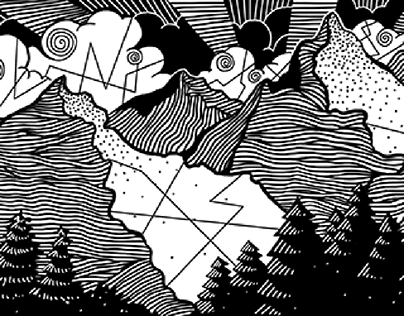 Black and White Doodle | The mountains