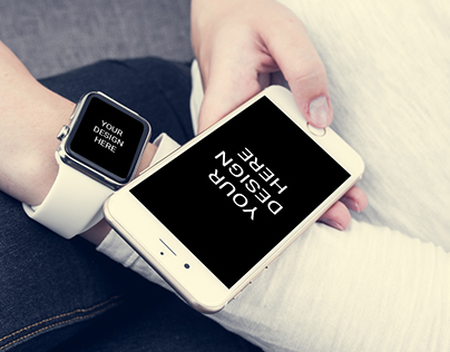 iPhone With Smartwatch Mockup