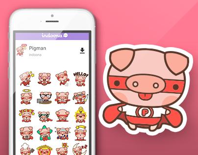 Pigman Kawaii Stickers for Indoona