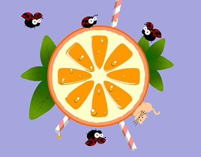 Ladybugs landing on an orange.