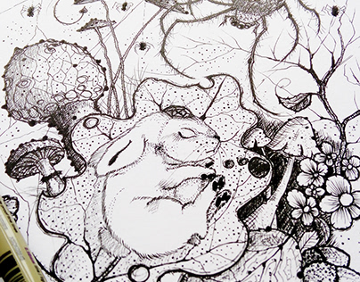 Rabbit from my 'Magic Forest' series. Ink on paper.