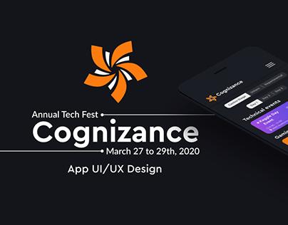 Cognizance' 20 Annual Tech Fest IITR App UI/UX Design