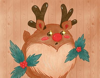 Plump Reindeer Cartoon Doodle