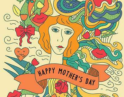 Happy Mother's Day Doodle Style Illustration