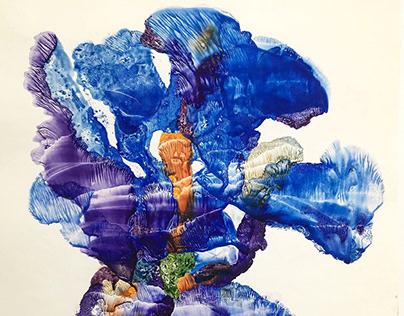 Irises, monotype watercolor