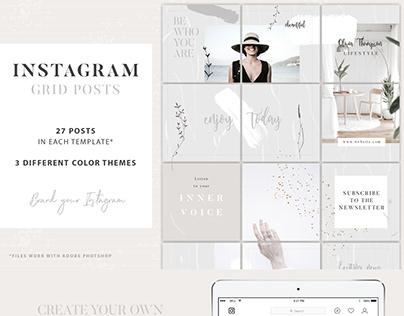 Instagram Grid Posts - 3 Photoshop Templates