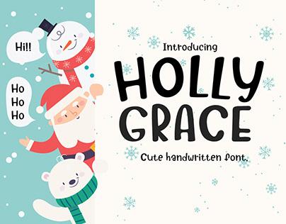 Holly Grace OTF, TTF hand written font design.