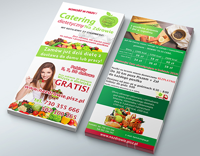 Diet Catering DL Brochures Design. Offset production.