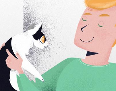 Jung und Katze