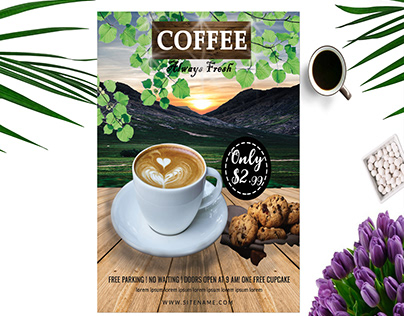 Coffee Shop, Cafe and Restaurant Flyer Design Template