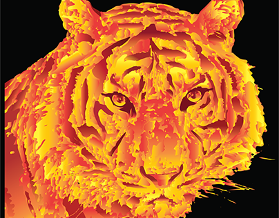 Tiger by the Gradient Tool in Adobe Illustrator