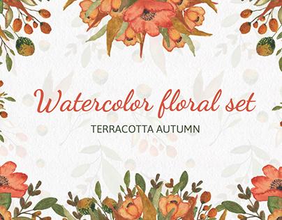 Watercolor floral set. Terracotta autumn.