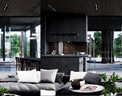 Sochi private house. Kitchen and living room design
