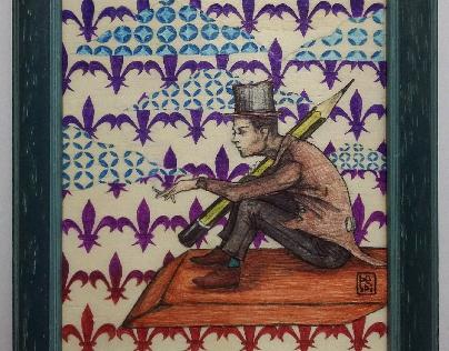 Volo libero - penne a biro su tavola,  16 x 20.
