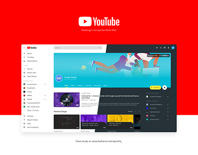 YouTube Redesign - Inspired by Material Design 2.0