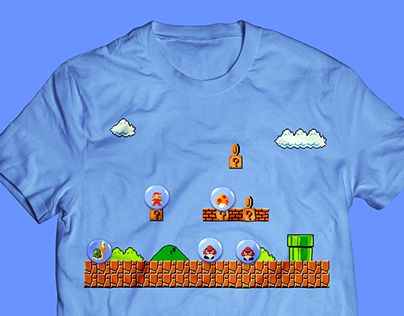 Concept for retro gaming t-shirts with pin-badges