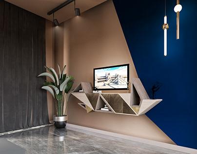 Deconstruction-inspired TV unit (living room)