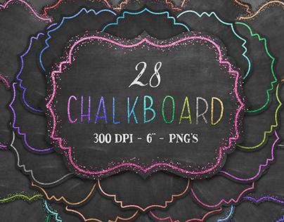 Chalkboard labels with decorative glitter borders