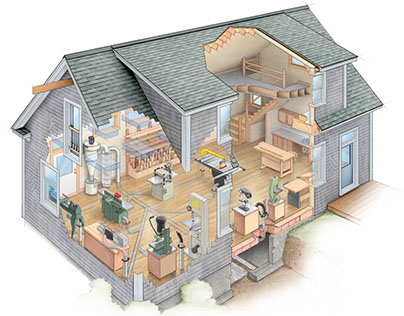 Cut-a-Way Illustration of a Woodworking Shop