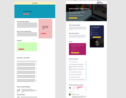 Single Page Redesign using UX and UI skills