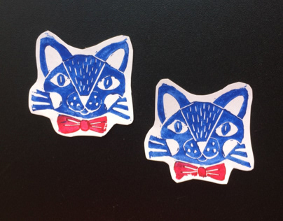Linocut Blue Cat Stickers