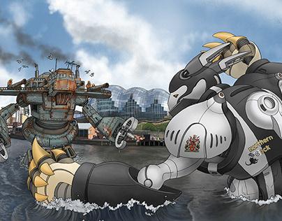 Battle on the River Tyne AR Print