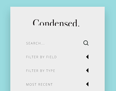 Condensed.  A Typographic Inspiration Website