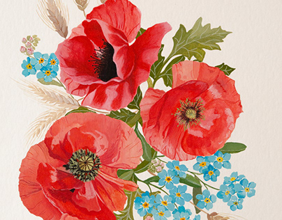 Poppies, forget-me-not flowers and wheat bouquet