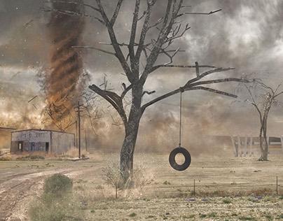 Wild desert tornado