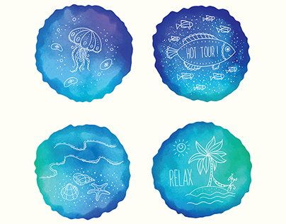 Watercolor vector illustrations