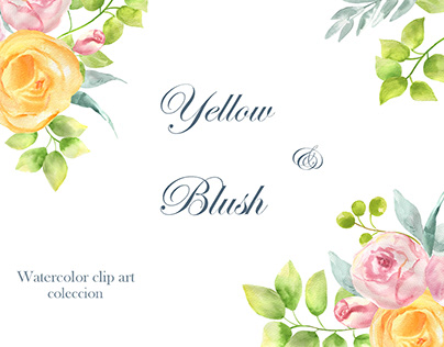Yellow and Blush watercolor clip art