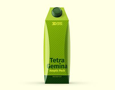 Tetra Pak. Gemina Pack (1L) Mockup Set